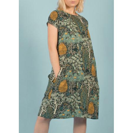 Robe droite et fluide Aurore imprimée motif floral vert