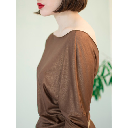 Organic shiny brown backless Athena top