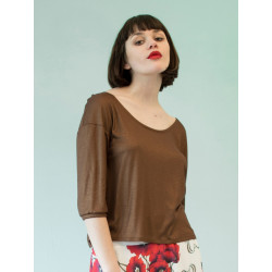Organic shiny brown Bloom top