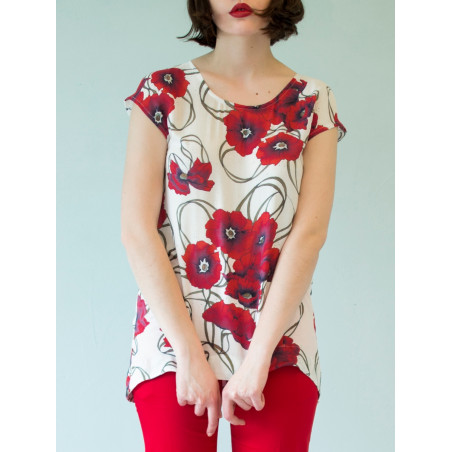 Poppy red flowery bamboo Boheme top