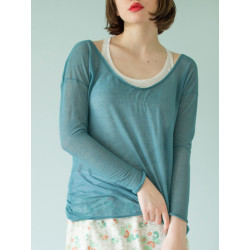 Organic blue see-through Boheme top