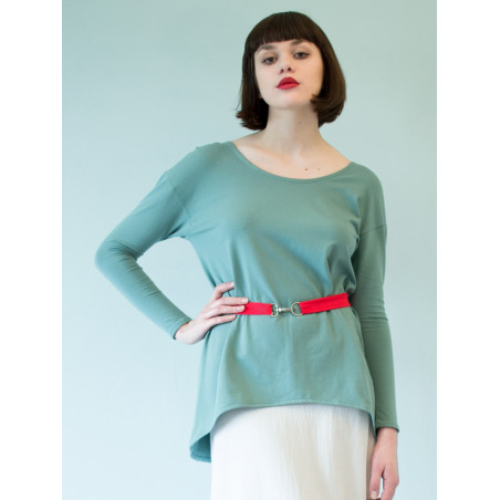 Organic mint blue Boheme top