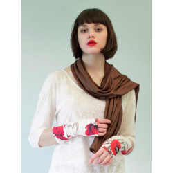 Shiny brown organic scarf
