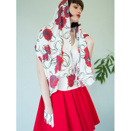 Poppy red flowery bamboo scarf