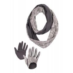 Coffret snood et gants motif spirale