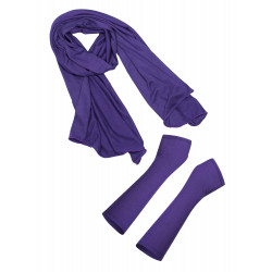 Purple scarf and fingerless gloves box