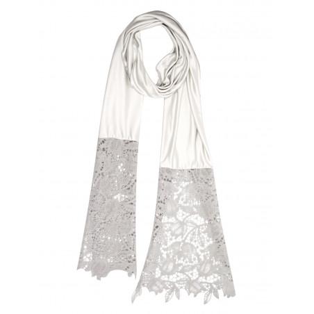 Silk and macrame wool scarf