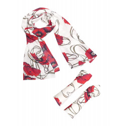 Poppy red scarf and fingerless gloves box