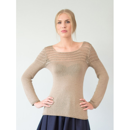 Beige hemstitched Mathilda jumper