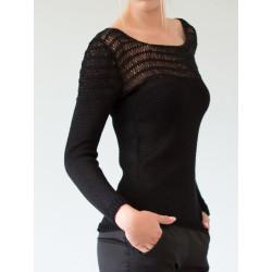 Black hemstitched Mathilda jumper