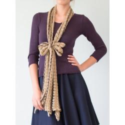 Brown beige wool scarf