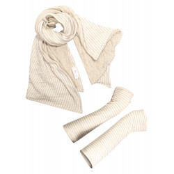 Striped beige scarf and mittens box