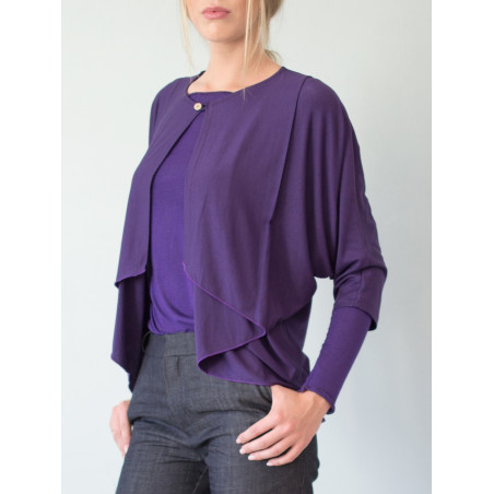 Purple bamboo Eva wide cardigan