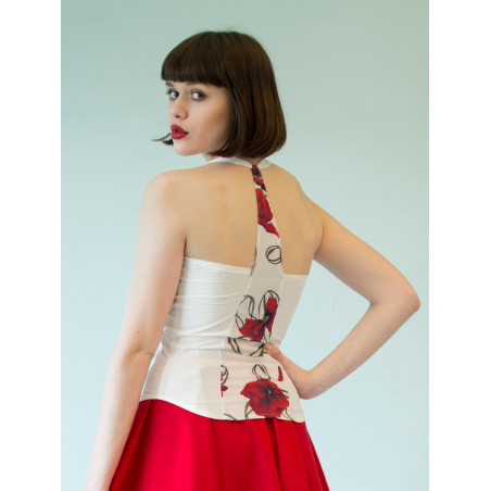 Poppy red flowery bamboo Muse tank top