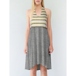 Backless dress Bahia in heather marl grey modal