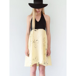 Linen backless dress Bahia with black flower pattern on yellow