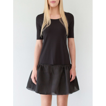 Black flounced organza silk dress Sylvia