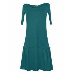 Organic petrol blue pinafore dress Sylvia with gathers