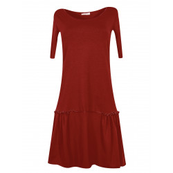 Organic red pinafore dress Sylvia with gathers