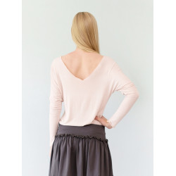 Nude bamboo backless Athena top
