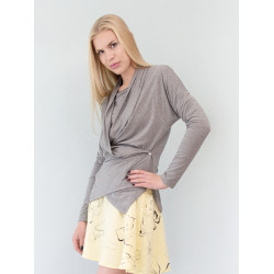 Heather marl grey wrap-over cardigan Sofia