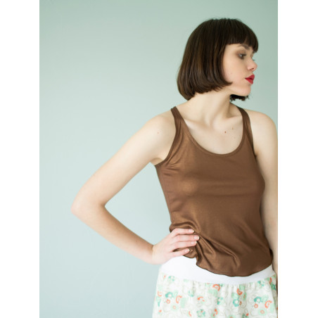 Organic shiny brown Muse tank