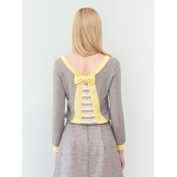 Yellow and grey striped back knotted Paula top