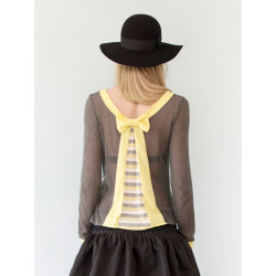 Yellow and grey striped Paula see-through top