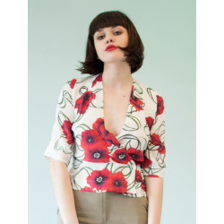 Poppy red flowery bamboo blouse