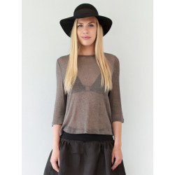 Knitted see-through Lucia top in silk organza
