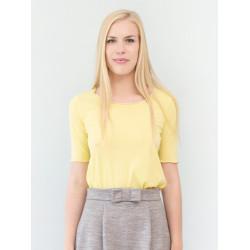 Top bio Sylvia jaune à manches courtes rétro