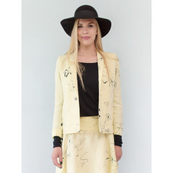 Yellow flowery linen Ines short jacket