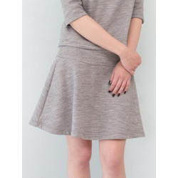 Carmen short skirt in organic sweater knit marl grey