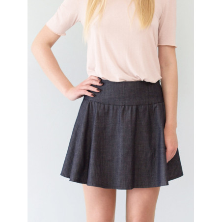 Organic raw blue denim Carmen short skirt