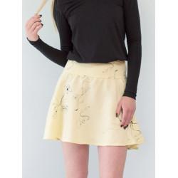 Yellow flowery linen Carmen short skirt