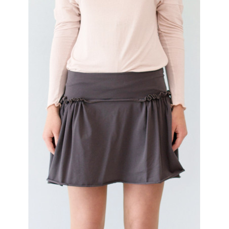 Organic grey short skirt Sylvia with gathers