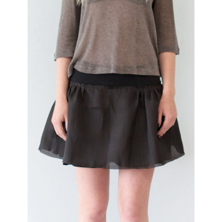 Black flounced organza silk short skirt Sylvia