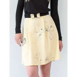 Yellow flowery linen mid-lenght skirt Electra