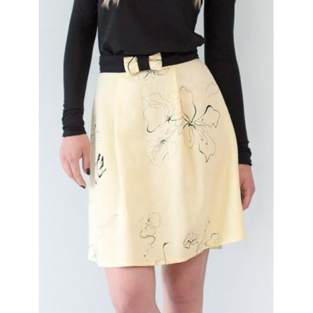 Jupe à pinces Electra en lin jaune motif fleuri