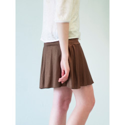 Organic shiny brown Athena short skirt