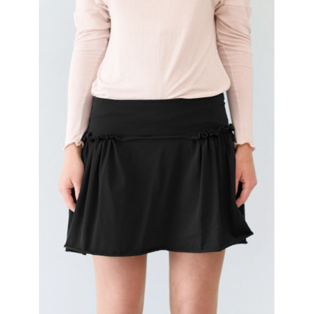 Organic black short skirt Sylvia with gathers