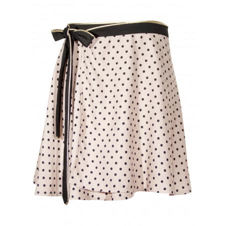 Dot print wrap skirt Lorelei in pale pink bamboo