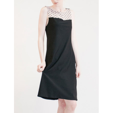 Black dot print pinafore sleeveless Maria dress