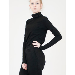 Mia polo neck organic black jersey top