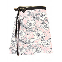 Floral print wrap skirt Lorelei in pink and black bamboo