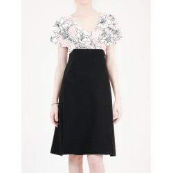 Robe Alicia à manches fendues imprimé floral rose noir