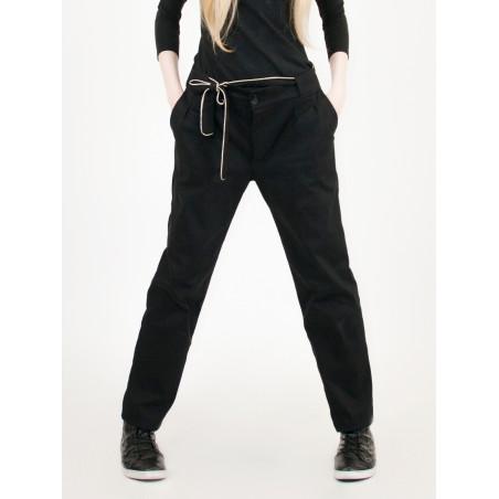 Ariel chinos pants in black organic gabardine