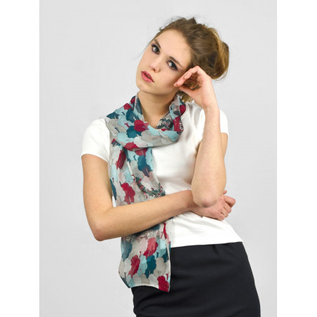 Foulard en soie motif tea-tree