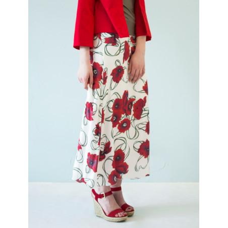 Poppy red flowery bamboo Boheme long skirt