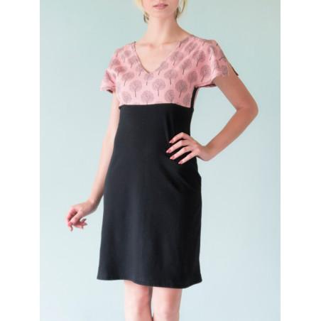 Split sleeves Alicia dress in pink and black poetry print